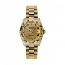 New Rolex New Style Midsize Yellow Gold President Watch - Champagne Concentric Arabic Dial - Fluted Bezel - Diamond Lugs 31 MM 178238