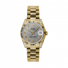 New Rolex New Style Midsize Yellow Gold President Watch - Gray Roman Dial - Fluted Bezel - Diamond Lugs 31 MM 178238