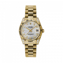 New Rolex New Style Midsize Yellow Gold President Watch - Mother of Pearl Diamond Dial - Fluted Bezel - Diamond Lugs 31 MM 178238