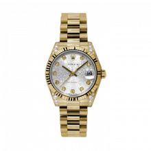 New Rolex New Style Midsize Yellow Gold President Watch - Silver Jubilee Diamond Dial - Fluted Bezel - Diamond Lugs 31 MM 178238