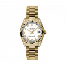 New Rolex New Style Midsize Yellow Gold President Watch - White Roman Dial - Fluted Bezel - Diamond Lugs 31 MM 178238