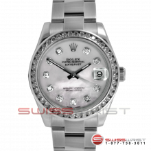 Rolex New Style Midsize Datejust Stainless Steel Mother Of Pearl Diamond Dial & Diamond Bezel On An Oyster Band Display Model