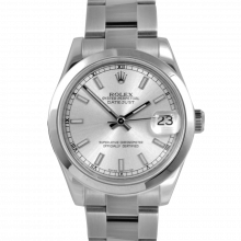 Pre-owned Rolex New Style Midsize Datejust Watch - Stainless Steel Silver Stick Dial & Smooth Bezel On An Oyster Band Display Model