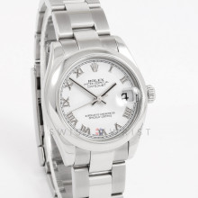 Rolex Datejust 31mm 178240 Stainless Steel w/ White Roman Dial and Smooth Bezel with Oyster Bracelet - Ladies Pre Owned Watch w/ Box & Papers