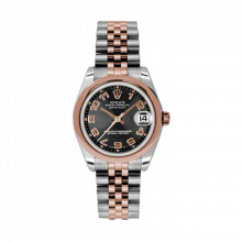 New Rolex Mens New Style Midsize Datejust Watch - Two Tone Rose Gold Black Concentric Arabic Dial - 18K Domed Bezel - Jubilee Bracelet 31 MM 178241