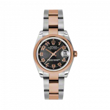 New Rolex Mens New Style Midsize Datejust Watch - Two Tone Rose Gold Black Concentric Arabic Dial - 18K Domed Bezel - Oyster Bracelet 31 MM 178241