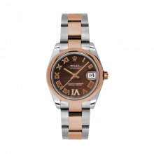 New Rolex Mens New Style Midsize Datejust Watch - Two Tone Rose Gold Chocolate Diamond/Roman Dial - 18K Domed Bezel - Oyster Bracelet 31 MM 178241