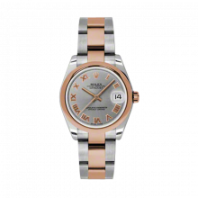 New Rolex Mens New Style Midsize Datejust Watch - Two Tone Rose Gold Gray Roman Dial - 18K Domed Bezel - Oyster Bracelet 31 MM 178241