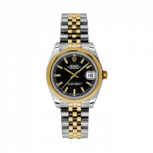 New Rolex Mens New Style Midsize Datejust Watch - Two Tone Yellow Gold Black Index Dial - 18K Domed Bezel - Jubilee Bracelet 31 MM 178243
