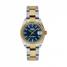New Rolex Mens New Style Midsize Datejust Watch - Two Tone Yellow Gold Blue Index Dial - 18K Domed Bezel - Jubilee Bracelet 31 MM 178243