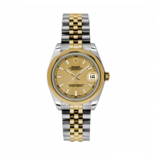 New Rolex Mens New Style Midsize Datejust Watch - Two Tone Yellow Gold Champagne Index Dial - 18K Domed Bezel - Jubilee Bracelet 31 MM 178243