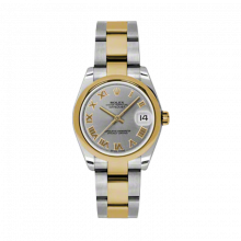 New Rolex Mens New Style Midsize Datejust Watch - Two Tone Yellow Gold Gray Roman Dial - 18K Domed Bezel - Jubilee Bracelet 31 MM 178243