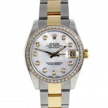 Pre-owned Rolex New Style Midsize Datejust Two Tone Watch - Mother of pearl Diamond Dial & Diamond Bezel On An Oyster Band - 178273