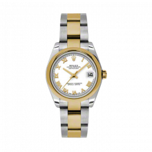 New Rolex Mens New Style Midsize Datejust Watch - Two Tone Yellow Gold White Roman Dial - 18K Domed Bezel - Jubilee Bracelet 31 MM 178243