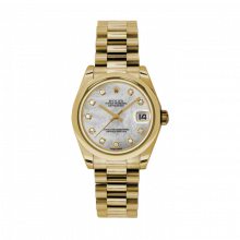 New Rolex New Style Midsize Yellow Gold President Watch - Mother of Pearl Diamond Dial - Domed/Smooth Bezel 31 MM 178248