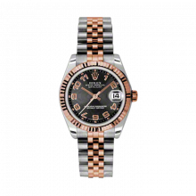 New Rolex Mens New Style Midsize Datejust Watch - Two Tone Rose Gold Black Concentric Arabic Dial - 18K Fluted Bezel - Jubilee Bracelet 31 MM 178271