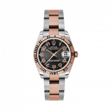 New Rolex Mens New Style Midsize Datejust Watch - Two Tone Rose Gold Black Concentric Arabic Dial - 18K Fluted Bezel - Oyster Bracelet 31 MM 178271