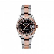 New Rolex Mens New Style Midsize Datejust Watch - Two Tone Rose Gold Black Roman Dial - 18K Fluted Bezel - Oyster Bracelet 31 MM 178271