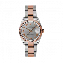 New Rolex Mens New Style Midsize Datejust Watch - Two Tone Rose Gold Gray Roman Dial - 18K Fluted Bezel - Oyster Bracelet 31 MM 178271