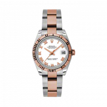 New Rolex Mens New Style Midsize Datejust Watch - Two Tone Rose Gold White Roman Dial - 18K Fluted Bezel - Oyster Bracelet 31 MM 178271