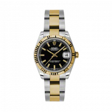 New Rolex Mens New Style Midsize Datejust Watch - Two Tone Yellow Gold Black Index Dial - 18K Fluted Bezel - Oyster Bracelet 31 MM 178273