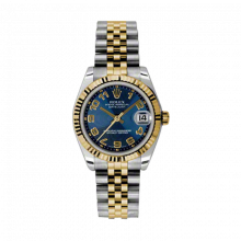 New Rolex Mens New Style Midsize Datejust Watch - Two Tone Yellow Gold Blue Concentric Arabic Dial - 18K Fluted Bezel - Jubilee Bracelet 31 MM 178273