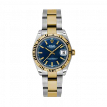 New Rolex Mens New Style Midsize Datejust Watch - Two Tone Yellow Gold Blue Index Dial - 18K Fluted Bezel - Oyster Bracelet 31 MM 178273