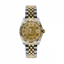 New Rolex Mens New Style Midsize Datejust Watch - Two Tone Yellow Gold Champagne Concentric Arabic Dial - 18K Fluted Bezel - Jubilee Bracelet 31 MM 178273