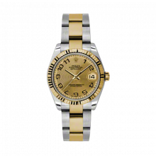 New Rolex Mens New Style Midsize Datejust Watch - Two Tone Yellow Gold Champagne Concentric Arabic Dial - 18K Fluted Bezel - Oyster Bracelet 31 MM 178273