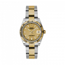 New Rolex Mens New Style Midsize Datejust Watch - Two Tone Yellow Gold Champagne Index Dial - 18K Fluted Bezel - Oyster Bracelet 31 MM 178273