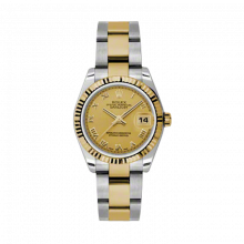 New Rolex Mens New Style Midsize Datejust Watch - Two Tone Yellow Gold Champagne Roman Dial - 18K Fluted Bezel - Oyster Bracelet 31 MM 178273