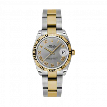 New Rolex Mens New Style Midsize Datejust Watch - Two Tone Yellow Gold Gray Roman Dial - 18K Fluted Bezel - Oyster Bracelet 31 MM 178273