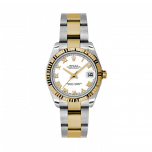 New Rolex Mens New Style Midsize Datejust Watch - Two Tone Yellow Gold White Roman Dial - 18K Fluted Bezel - Oyster Bracelet 31 MM 178273