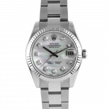 Pre-owned Rolex New Style Stainless Steel Midsize Datejust Watch - with Custom Mother Of Pearl Diamond Dial & Fluted Bezel On An Oyster Band