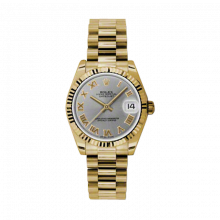 Pre-Owned Rolex New Style Midsize Yellow Gold President Watch - Slate Roman Dial - Fluted Bezel 31 MM 178278