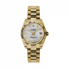 Pre-Owned Rolex New Style Midsize Yellow Gold President Watch - Custom Mother of Pearl Diamond Dial - Fluted Bezel 31 MM 178278