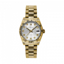 Pre-Owned Rolex New Style Midsize Yellow Gold President Watch - Silver Jubilee Diamond Dial - Fluted Bezel 31 MM 178278