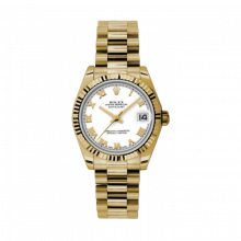 Pre-Owned Rolex New Style Midsize Yellow Gold President Watch - White Roman Dial - Fluted Bezel 31 MM 178278