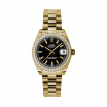 New Rolex New Style Midsize Yellow Gold President Watch - Black Index Dial - Diamond Bezel 31 MM 178288
