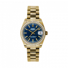 New Rolex New Style Midsize Yellow Gold President Watch - Blue Index Dial - Diamond Bezel 31 MM 178288