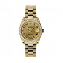 New Rolex New Style Midsize Yellow Gold President Watch - Champagne Concentric Arabic Dial - Diamond Bezel 31 MM 178288