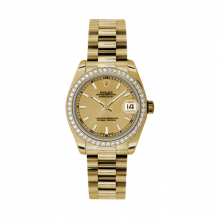 New Rolex New Style Midsize Yellow Gold President Watch - Champagne Index Dial - Diamond Bezel 31 MM 178288