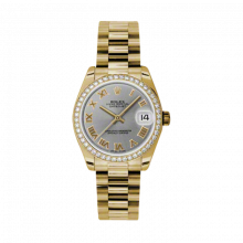 New Rolex New Style Midsize Yellow Gold President Watch - Gray Roman Dial - Diamond Bezel 31 MM 178288