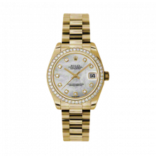 New Rolex New Style Midsize Yellow Gold President Watch - Mother of Pearl Diamond Dial - Diamond Bezel 31 MM 178288