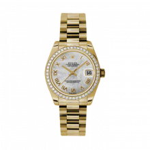 New Rolex New Style Midsize Yellow Gold President Watch - Mother of Pearl Roman Dial - Diamond Bezel 31 MM 178288