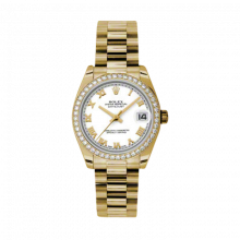 New Rolex New Style Midsize Yellow Gold President Watch - White Roman Dial - Diamond Bezel 31 MM 178288