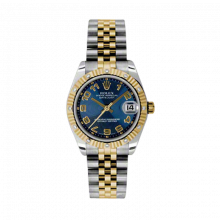 New Rolex Mens New Style Midsize Datejust Watch - Two Tone Yellow Gold Blue Concentric Arabic Dial - 18K Fluted Bezel w/ Diamonds - Jubilee Bracelet 31 MM 178313