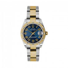 New Rolex Mens New Style Midsize Datejust Watch - Two Tone Yellow Gold Blue Concentric Arabic Dial - 18K Fluted Bezel w/ Diamonds - Oyster Bracelet 31 MM 178313