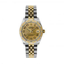 New Rolex Mens New Style Midsize Datejust Watch - Two Tone Yellow Gold Champagne Concentric Arabic Dial - 18K Fluted Bezel w/ Diamonds - Jubilee Bracelet 31 MM 178313