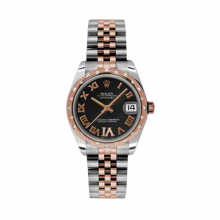 New Rolex Mens New Style Midsize Datejust Watch -  Two Tone Rose Gold Black Diamond Dial - Domed Bezel with 24 Diamonds - Jubilee Bracelet 31 MM 178341